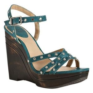 Frye Turquoise Studded Bridget Wedges/Platforms